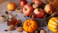 apples, chestnuts, and pumpkins