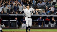 Boston Red Sox at New York Yankees, USA - 20 Sep 2018 New York Yankees left fielder Giancarlo Stanton (R) watches his grand slam in the fourth inning of the MLB game between the New York Yankees and the Boston Red Sox at Yankee Stadium in New York, New York, USA, 20 September 2018. 20 Sep 2018