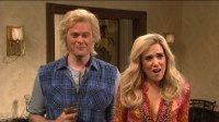 "Bill Hader and Kristen Wiig in a ""Californians"" sketch from Saturday Night Live."