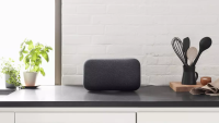 The Google Home Max sitting on a kitchen counter