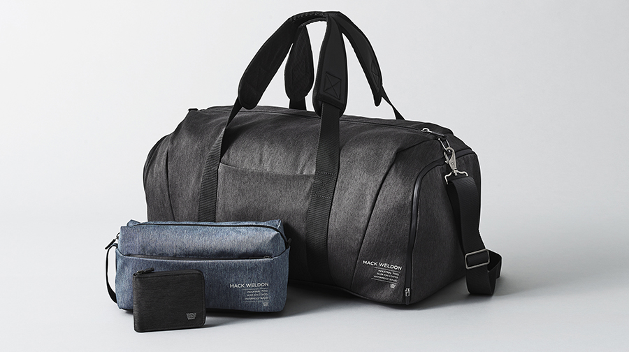 Mack Weldon's new accessories collection includes a wallet, a dopp kit, and a weekender bag.