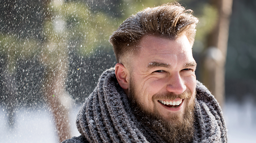 Man with snow in hair