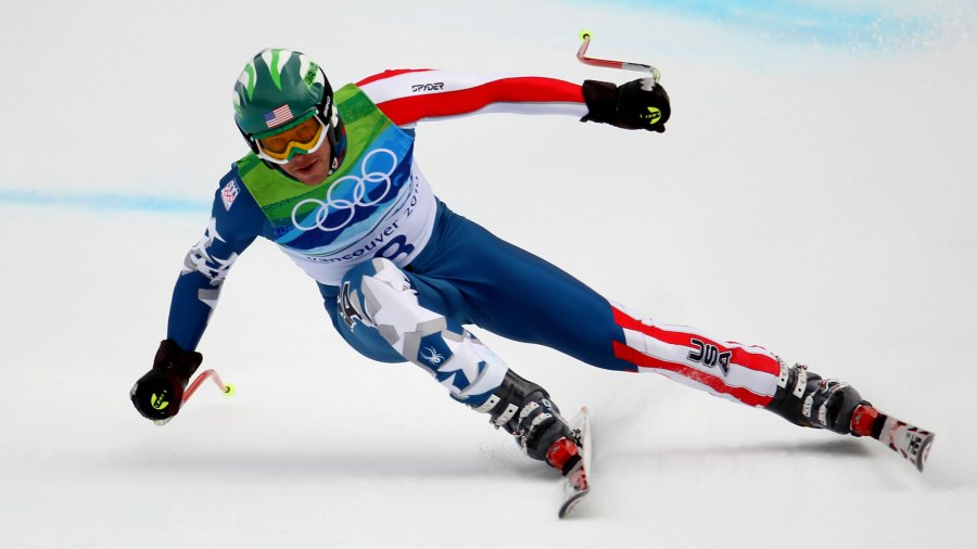 WHISTLER, BC - FEBRUARY 15: Bode Miller of the United States competes in the Alpine skiing Men's Downhill at Whistler Creekside during the Vancouver 2010 Winter Olympics on February 15, 2010 in Whistler, Canada.