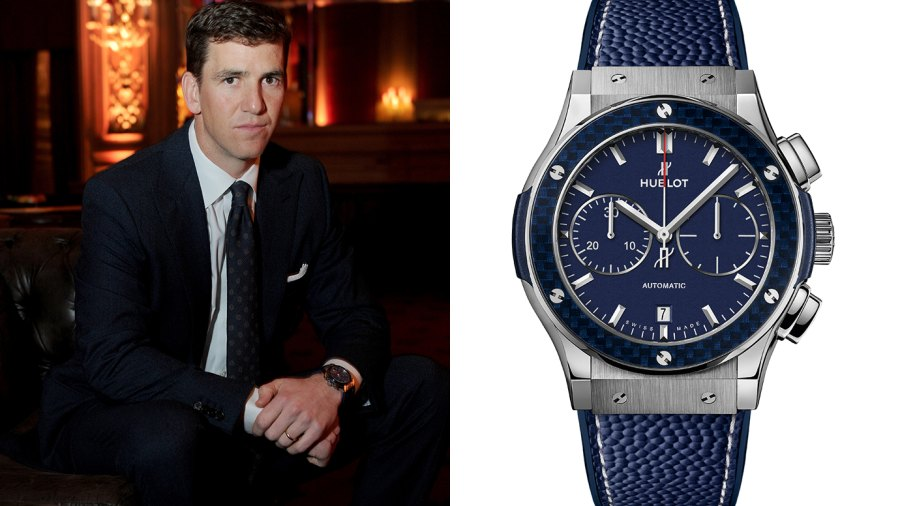 Eli Manning and his new, limited edition Hublot timepiece.
