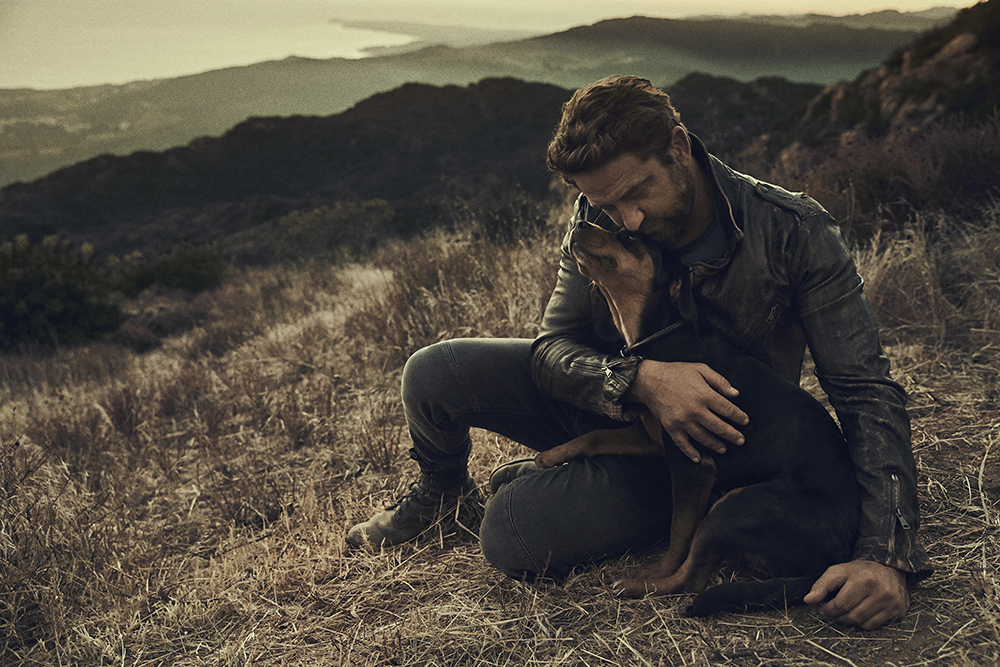 Gerard Butler and his rescue dog Shushka.