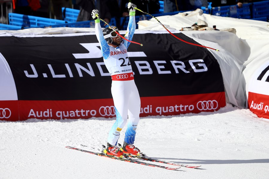 USA's Travis Ganong reacts after crossing the finish