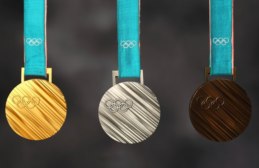 PARK CITY, UT - SEPTEMBER 25: The PyeonChang 2018 gold, silver and bronze medals are seen during the Team USA Media Summit ahead of the PyeongChang 2018 Olympic Winter Games on September 25, 2017 in Park City, Utah.