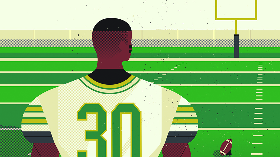 Illustration of a football player looking toward goal posts