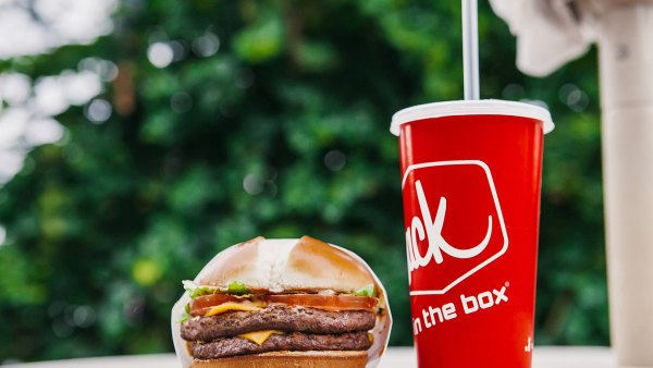 A burger and soft drink from Jack in the Box