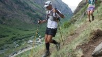 CUNNINGHAM GULCH, CO - JULY 16: Kelly Agnew of Ogden, Utah (L) runs down the trail near the 91-mile mark during the Hardrock 100 ultra distance run through the San Juan Mountains on July 16, 2016, in Silverton, Colorado. The 100.5-mile loop course takes runners from Silverton to Telluride to Ouray to Lake City and back to Silverton. (Photo by Daniel Petty/The Denver Post via Getty Images)