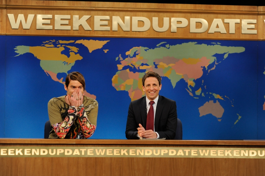 Bill Hader as Stefon and Seth Meyers on Saturday Night Live's Weekend Update