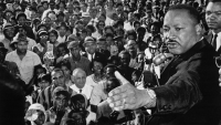 Cleveland, Ohio: Reverend Martin Luther King addressed a cheering crowd of 2,000