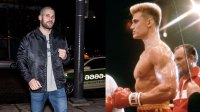 L: Actor/boxer Florian Munteanu is seen arriving to Zahav restaurant for a 'Creed II' cast dinner on March 28, 2018 in Philadelphia, Pennsylvania., R: Swedish actor Dolph Lundgren with American actor, director and screenwriter Sylvester Stallone on the set of his movie Rocky IV.