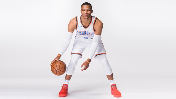 OKLAHOMA CITY, OK - SEPTEMBER 25: Russell Westbrook #0 of the Oklahoma City Thunder poses for a photo during media day at Chesapeake Energy Arena on September 25, 2017 in Oklahoma City, Oklahoma. NOTE TO USER: User expressly acknowledges and agrees that, by downloading and/or using this photograph, user is consenting to the terms and conditions of the Getty Images License Agreement.