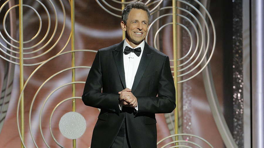BEVERLY HILLS, CA - JANUARY 07: In this handout photo provided by NBCUniversal, Host Seth Meyers speaks onstage during the 75th Annual Golden Globe Awards at The Beverly Hilton Hotel on January 7, 2018 in Beverly Hills, California.