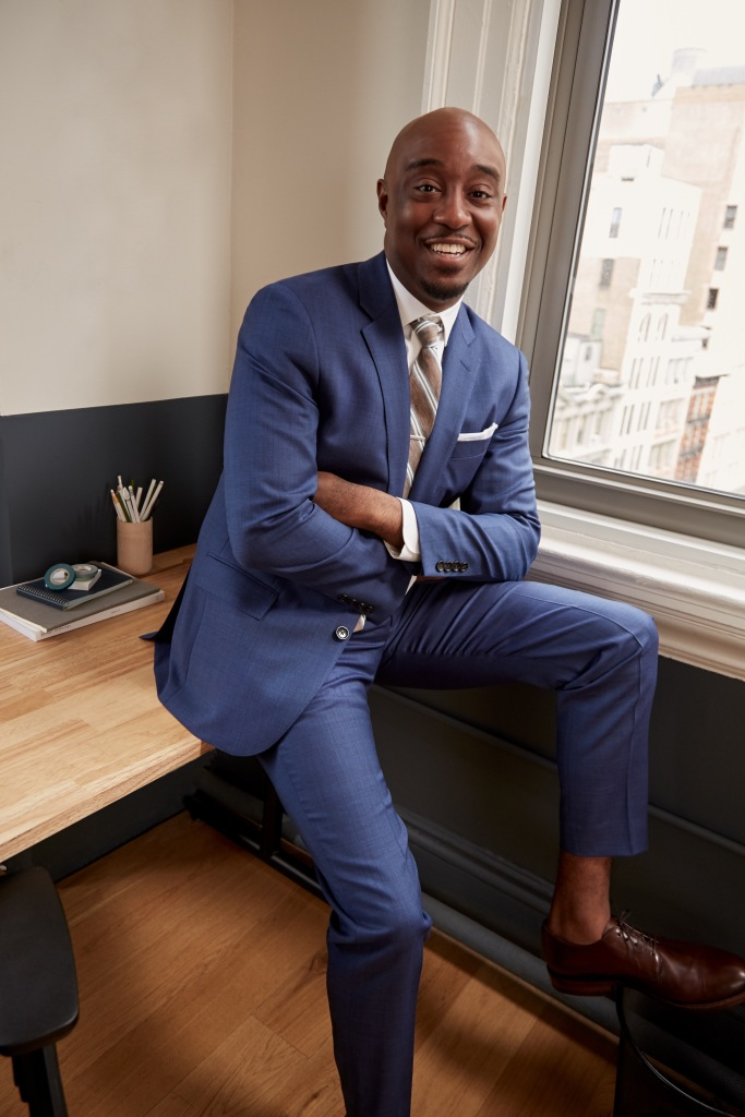 Marcus Blackwell, founder of Make Music Count, a math and music organization for children, wearing J.Crew's Ludlow suit and shirt.