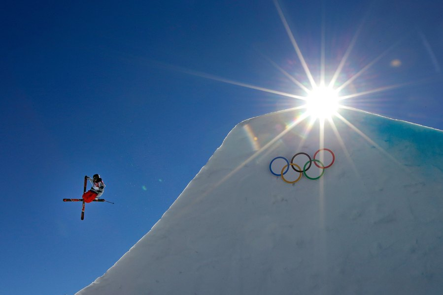 SOCHI, RUSSIA - FEBRUARY 13: Gus Kenworthy of the United States competes in the Freestyle Skiing Men's Ski Slopestyle Finals during day six of the Sochi 2014 Winter Olympics at Rosa Khutor Extreme Park on February 13, 2014 in Sochi, Russia.