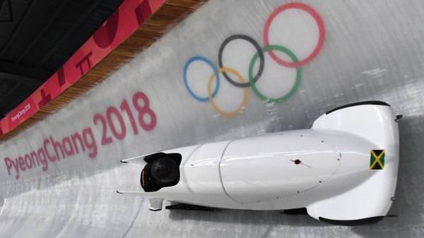 Team leader and driver Jazmine Fenlator-Victorian of Jamaica corners in the second women's unofficial bobsleigh training session at the Olympic Sliding Centre, ahead of the Pyeongchang 2018 Winter Olympic Games, in Pyeongchang on February 8, 2018. / AFP PHOTO / Mark Ralston