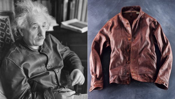 At left, Albert Einstein at the University of New Hampshire wearing his Levi's leather jacket; at right, the Levi's Vintage Clothing version of the Einstein jacket.