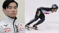 Kei Saito of Japan trains during Short Track Speed Skating practice