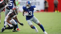 TAMPA, FL - OCTOBER 01: Odell Beckham Jr. #13 of the New York Giants runs after a catch during a game against the Tampa Bay Buccaneers at Raymond James Stadium on October 1, 2017 in Tampa, Florida. The Bucs defeated the Giants 25-23. (Photo by Joe Robbins/Getty Images)