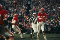 NEW ORLEANS - JANUARY 11: Lenny Dawson #16 of the Kansas City Chiefs passes to a teammate during Super Bowl IV against the Minnesota Vikings at Tulane Stadium in New Orleans, Louisiana on January 11, 1970. The Kansas City Chiefs defeated the Minnesota Vikings 23-7.