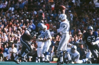 MIAMI - JANUARY 17: Johnny Unitas quarterback for the Baltimore Colts throws a pass during Super Bowl V against the Dallas Cowboys at the Oarnge Bowl on January 17, 1971 in Miami, Florida. The Colts defeated the Cowboys 16-13.