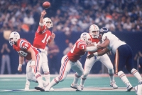 NEW ORLEANS, LA - JANUARY 26: Steve Grogan #14 of the New England Patriots passes to a receiver during Super Bowl XX against the Chicago Bears at the Superdome on January 26, 1986 in New Orleans, Louisiana. The Bears defeated the Patriots 46-10.