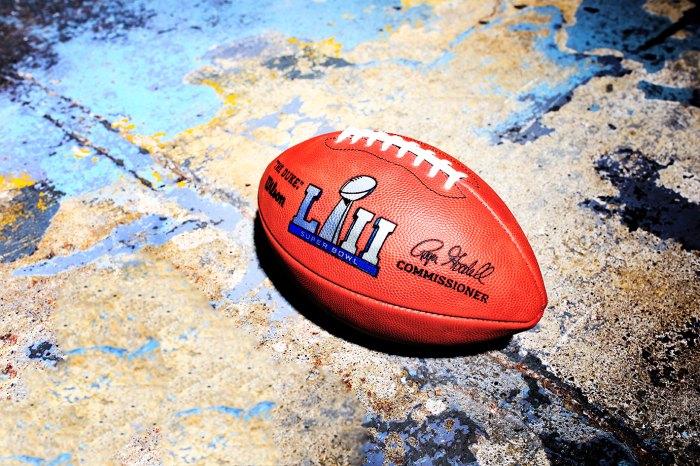 The final product: an official Super Bowl ball made by the Wilson factory in Ada, Ohio.