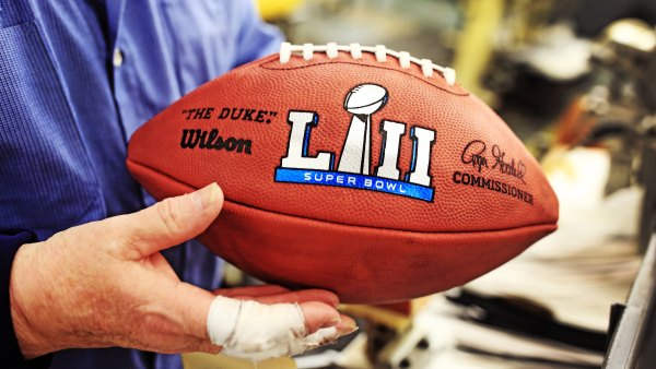 A finished Wilson football, made especially for the Super Bowl in the company's Ada, Ohio factory.