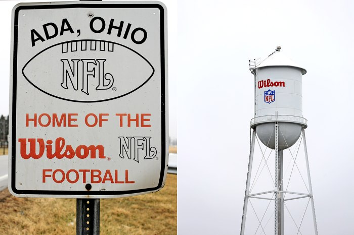 The Ada, Ohio town sign and water tower both bear the Wilson logo.