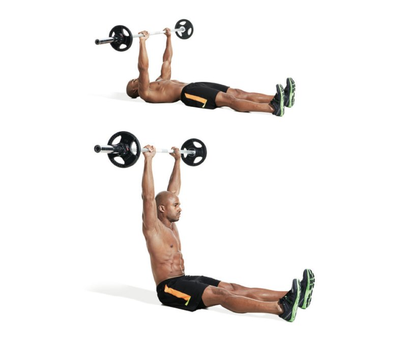 Best ab exercises to get a six-pack — Straight leg barbell situp