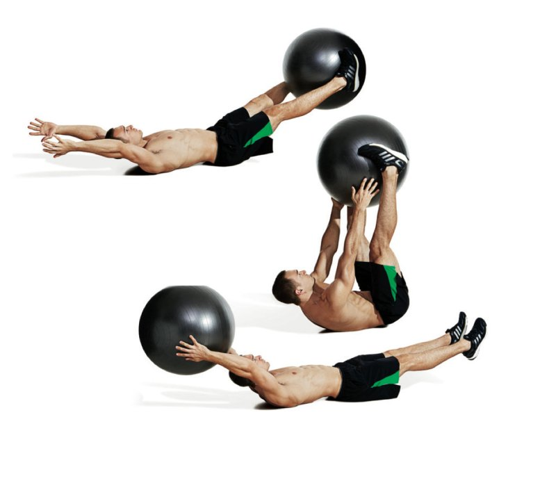Best ab exercises to get a six-pack — Swiss ball v-up and pass Best ab exercises to get a six-pack — Swiss ball v-up and pass