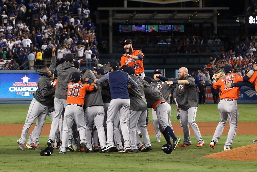 The Houston Astros celebrate defeating the Los Angeles Dodgers in the World Series.
