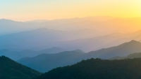 United States, North Carolina, Jackson County. Blue Ridge Mountains from the Blue Ridge Parkway at sunset.