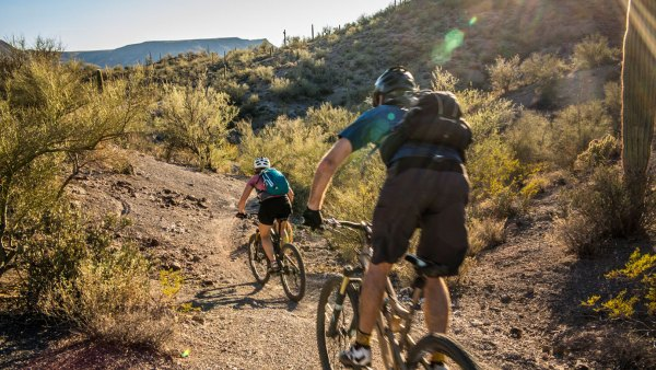 Cyclists riding through Arizona