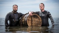 Justin Fornal, left, and Chad Anderson during the Great Islay Swim.