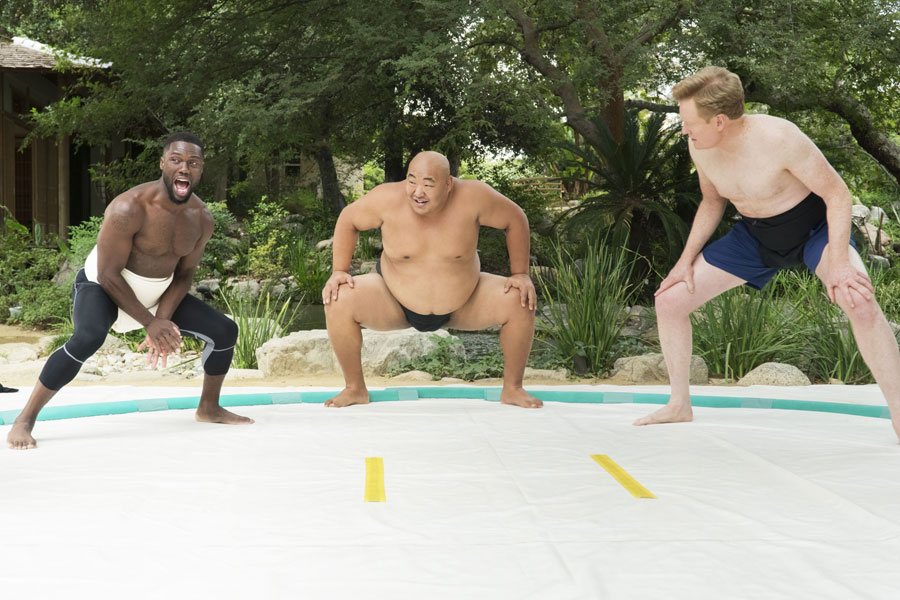"""Kevin Hart with Conan O'Brien for sumo-themed workout on """"What the Fit"""""""