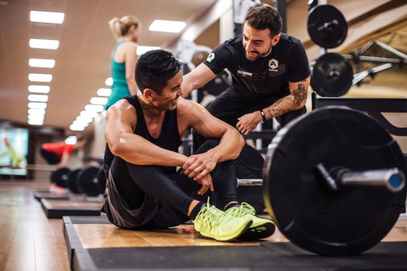 Trainer and client at LifeTime Gym Team Alpha session