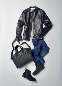Go minimalist with a leather jacket and add detail elsewhere.