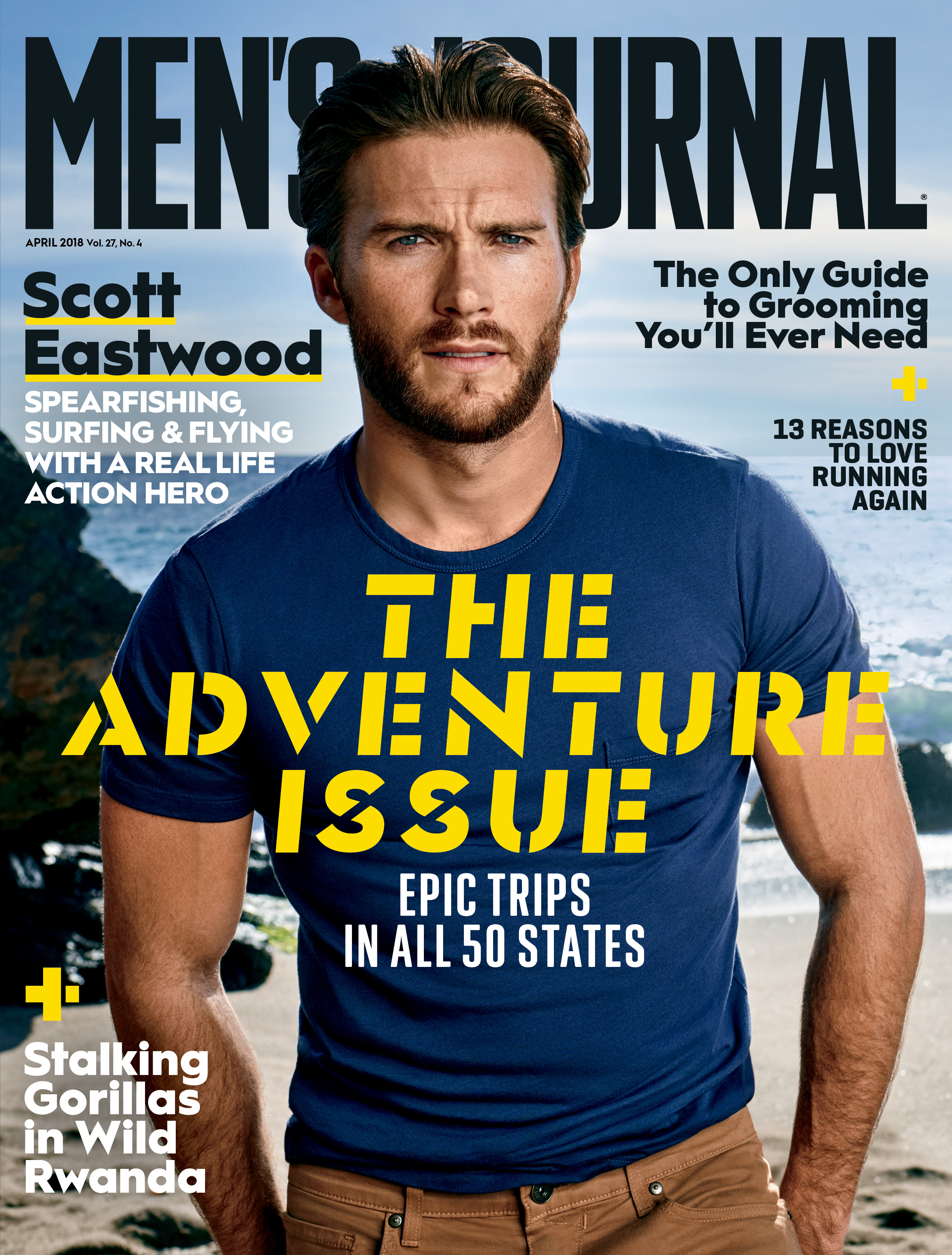 Scott Eastwood photographed for the April 2018 cover of Men's Journal by Jeff Lipsky