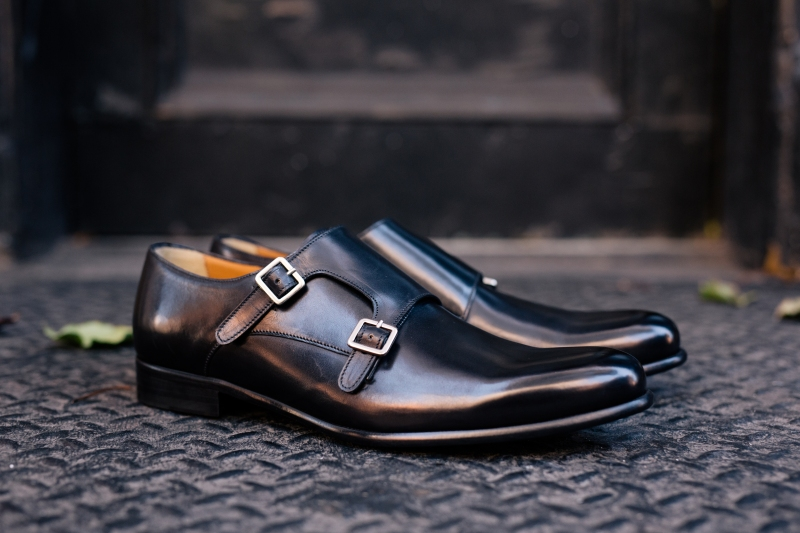 The Poitier Double Monk Strap in Nero
