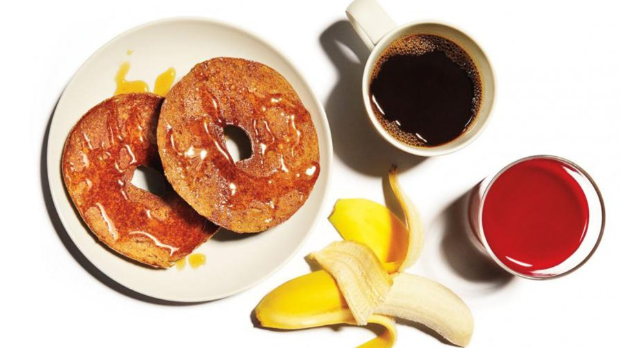 Bagel with honey, coffee, banana, and tart cherry juice