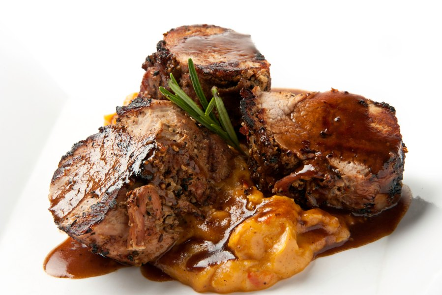 Braised Pork Tenderloins with Port wine sauce and mashed sweet potatoes
