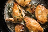 Chicken roasting in pan