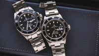 A fake Rolex Submariner, at left, next to the real deal on the right.