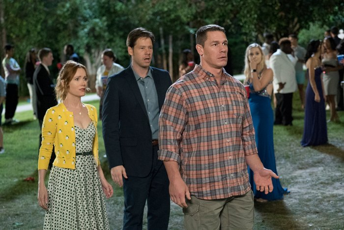 """Leslie Mann, Ike Barinholtz, and John Cena in the film """"Blockers"""" which premieres April 6."""