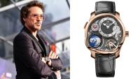 Robert Downey Jr. attends the premiere of Disney and Marvel's 'Avengers: Infinity War' on April 23, 2018 wearing a Greubel Forsey GMT watch.