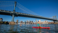 Lauren Bobowski and Ellen Tobben under the Manhattan and Brokklyn Bridges