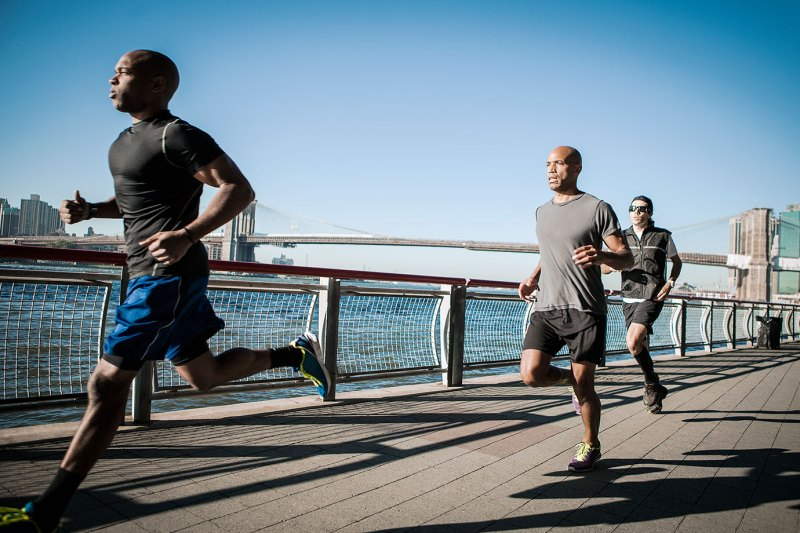 eam running together along waterfront, New York
